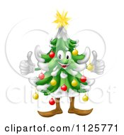 Clipart Of A Happy Christmas Tree Mascot Holding Two Thumbs Up Royalty Free Vector Illustration