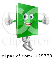 Clipart Of A Happy Green Book Mascot Holding Two Thumbs Up Royalty Free Vector Illustration