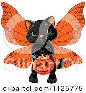 Cartoon Of A Cute Black Halloween Cat Wearing Wings And Trick Or Treating Royalty Free Vector Clipart