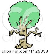 Cartoon Of An Ent Tree With Green Foliage 4 Royalty Free Vector Clipart by lineartestpilot
