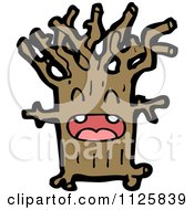 Cartoon Of An Ent Tree 4 Royalty Free Vector Clipart by lineartestpilot