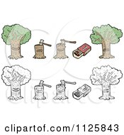 Cartoon Of Trees Stumps And Matches Royalty Free Vector Clipart by lineartestpilot
