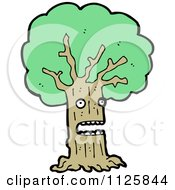 Cartoon Of An Ent Tree With Green Foliage 5 Royalty Free Vector Clipart by lineartestpilot
