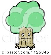 Cartoon Of An Ent Tree With Green Foliage 6 Royalty Free Vector Clipart by lineartestpilot