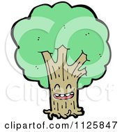 Cartoon Of An Ent Tree With Green Foliage 7 Royalty Free Vector Clipart by lineartestpilot