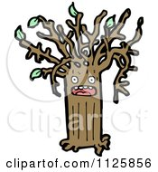 Cartoon Of An Ent Tree With Green Foliage 13 Royalty Free Vector Clipart by lineartestpilot