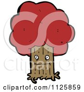 Cartoon Of An Ent Tree With Red Autumn Foliage 5 Royalty Free Vector Clipart by lineartestpilot