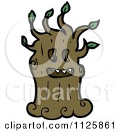Cartoon Of An Ent Tree With Green Foliage 10 Royalty Free Vector Clipart by lineartestpilot
