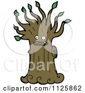 Cartoon Of An Ent Tree With Green Foliage 11 Royalty Free Vector Clipart by lineartestpilot