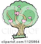 Cartoon Of A Tree With Hearts And Green Foliage Royalty Free Vector Clipart by lineartestpilot
