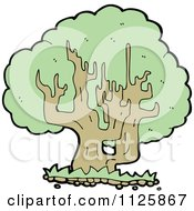 Cartoon Of A Tree With Green Foliage 27 Royalty Free Vector Clipart by lineartestpilot