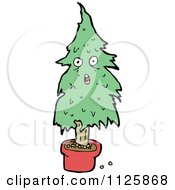 Cartoon Of A Potted Christmas Tree Character 1 Royalty Free Vector Clipart
