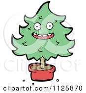 Cartoon Of A Potted Christmas Tree Character 3 Royalty Free Vector Clipart
