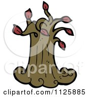 Cartoon Of A Tree With Red Autumn Foliage 26 Royalty Free Vector Clipart