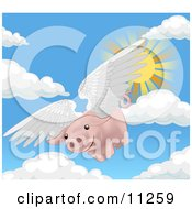 Pink Pig Flying Through The Sky On A Sunny Day When Pigs Fly by AtStockIllustration