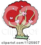 Cartoon Of A Tree With Hearts And Red Autumn Foliage Royalty Free Vector Clipart