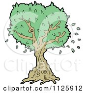 Cartoon Of A Tree With Green Foliage 21 Royalty Free Vector Clipart by lineartestpilot