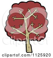 Cartoon Of A Tree With Red Autumn Foliage 31 Royalty Free Vector Clipart by lineartestpilot