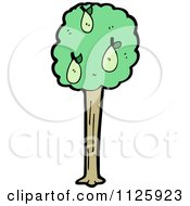 Cartoon Of A Pear Tree Royalty Free Vector Clipart by lineartestpilot