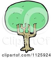 Cartoon Of A Tree With Green Foliage 17 Royalty Free Vector Clipart by lineartestpilot