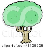Cartoon Of A Tree With Green Foliage 18 Royalty Free Vector Clipart by lineartestpilot