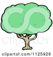 Cartoon Of A Tree With Green Foliage 19 Royalty Free Vector Clipart by lineartestpilot