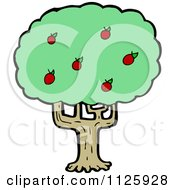 Cartoon Of An Apple Tree 2 Royalty Free Vector Clipart by lineartestpilot