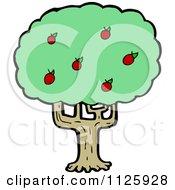 Cartoon Of An Apple Tree 2 Royalty Free Vector Clipart