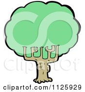 Cartoon Of A Tree With Green Foliage 16 Royalty Free Vector Clipart by lineartestpilot