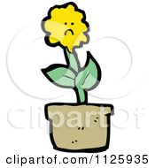 Cartoon Of A Potted Sunflower 6 Royalty Free Vector Clipart by lineartestpilot