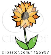 Cartoon Of A Sunflower Royalty Free Vector Clipart by lineartestpilot