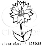 Cartoon Of An Outlined Sunflower Royalty Free Vector Clipart by lineartestpilot