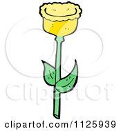 Cartoon Of A Yellow Tulip Flower 2 Royalty Free Vector Clipart