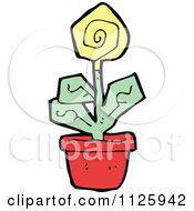Cartoon Of A Yellow Potted Flower 1 Royalty Free Vector Clipart