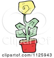 Cartoon Of A Yellow Potted Flower 2 Royalty Free Vector Clipart