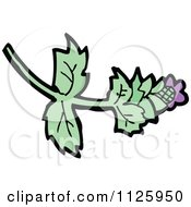 Cartoon Of A Plant With A Purple Thistle Flower Royalty Free Vector Clipart by lineartestpilot