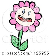 Cartoon Of A Pink Flower Character 6 Royalty Free Vector Clipart by lineartestpilot