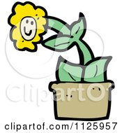 Cartoon Of A Potted Sunflower 5 Royalty Free Vector Clipart