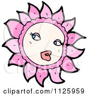 Cartoon Of A Pink Flower Character 5 Royalty Free Vector Clipart by lineartestpilot