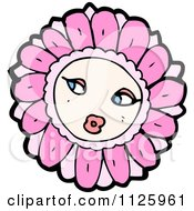 Cartoon Of A Pink Flower Character 3 Royalty Free Vector Clipart by lineartestpilot
