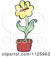 Cartoon Of A Potted Sunflower 2 Royalty Free Vector Clipart