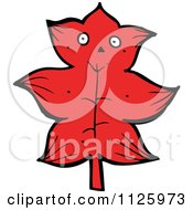 Cartoon Of A Red Leaf Character 1 Royalty Free Vector Clipart