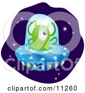 One Green Alien With Horns And Four Arms Flying A UFO In Space Clipart Illustration