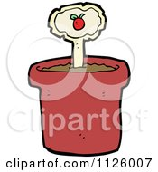 Cartoon Of A Tomato Plant Marker In A Pot Royalty Free Vector Clipart