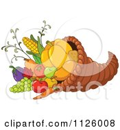 Cartoon Of A Thanksgiving Cornucopia Horn Of Plenty Full Of Harvest Produce Royalty Free Vector Clipart by yayayoyo