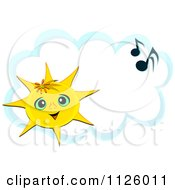 Cartoon Of A Happy Sun And Music Notes Over A Cloud Royalty Free Vector Clipart by bpearth
