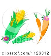 Carrots And Corn With Flowers
