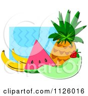 Cartoon Of Bananas Watermelon Honeydew Melon Strawberry And Pineapple Over Blue Waves Royalty Free Vector Clipart by bpearth