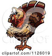 Cartoon Of A Turkey Bird Mascot With Folded Arms Royalty Free Vector Clipart
