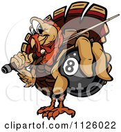 Cartoon Of A Turkey Bird Mascot Holding Out A Billiards Eight Ball Royalty Free Vector Clipart by Chromaco